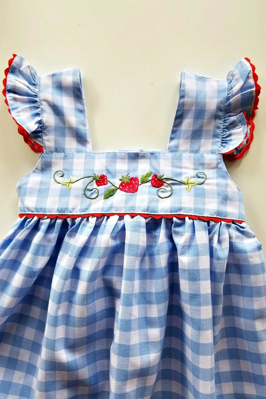 Sweet Dreams Strawberry Blue-Gingham-Pinafore Dress - Side Cropped Image