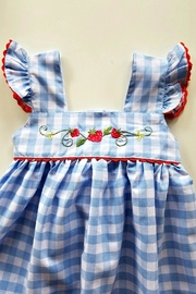 Sweet Dreams Strawberry Blue-Gingham-Pinafore Dress - Side cropped
