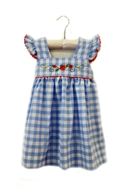 Sweet Dreams Strawberry Blue-Gingham-Pinafore Dress - Front cropped