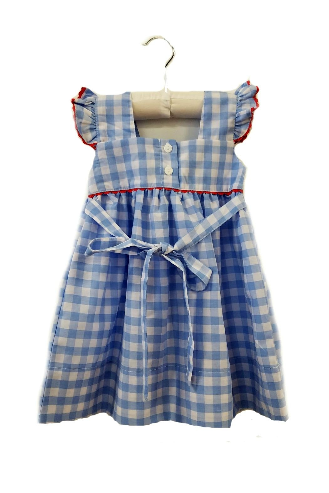 Sweet Dreams Strawberry Blue-Gingham-Pinafore Dress - Front Full Image