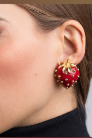 Kenneth Jay Lane Strawberry Clip Earrings - Product Mini Image