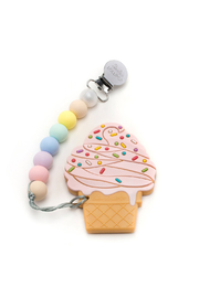loulou LOLLIPOP Strawberry Ice Cream Silicone Teether Holder Set - Cotton Candy - Product Mini Image