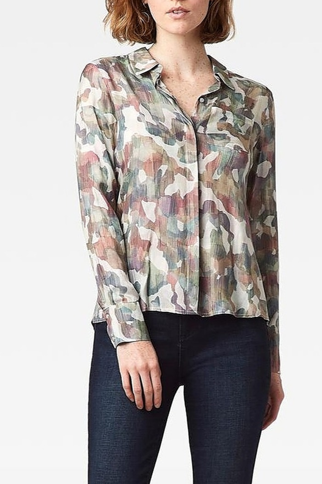 Ecru Streep Shirt - Front Cropped Image