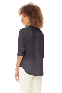 Ecru Streep Washed Linen Shirt, Indigo - Alternate List Image