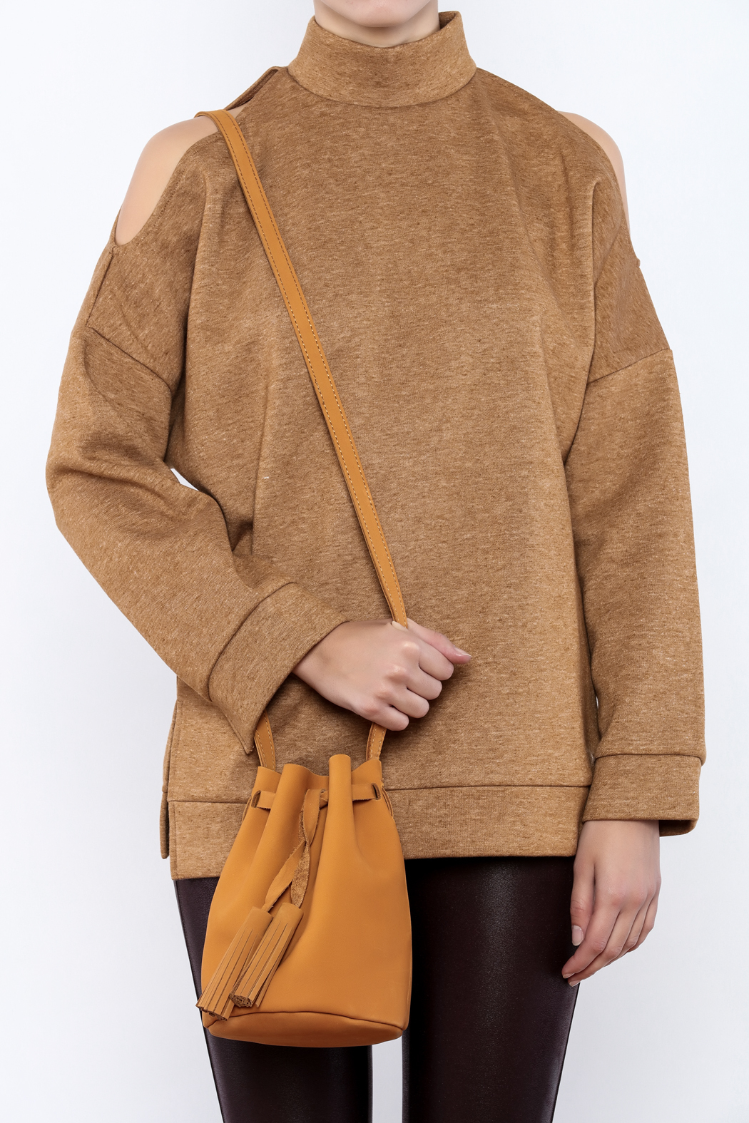 Street Level Suede Bucket Bag - Side Cropped Image