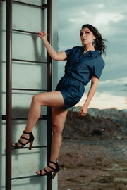 Street Glam Blue Denim Romper - Product Mini Image
