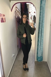 Street Glam Olive Green Jacket - Front cropped