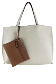 Street Level Ivory Reversible Tote - Front cropped