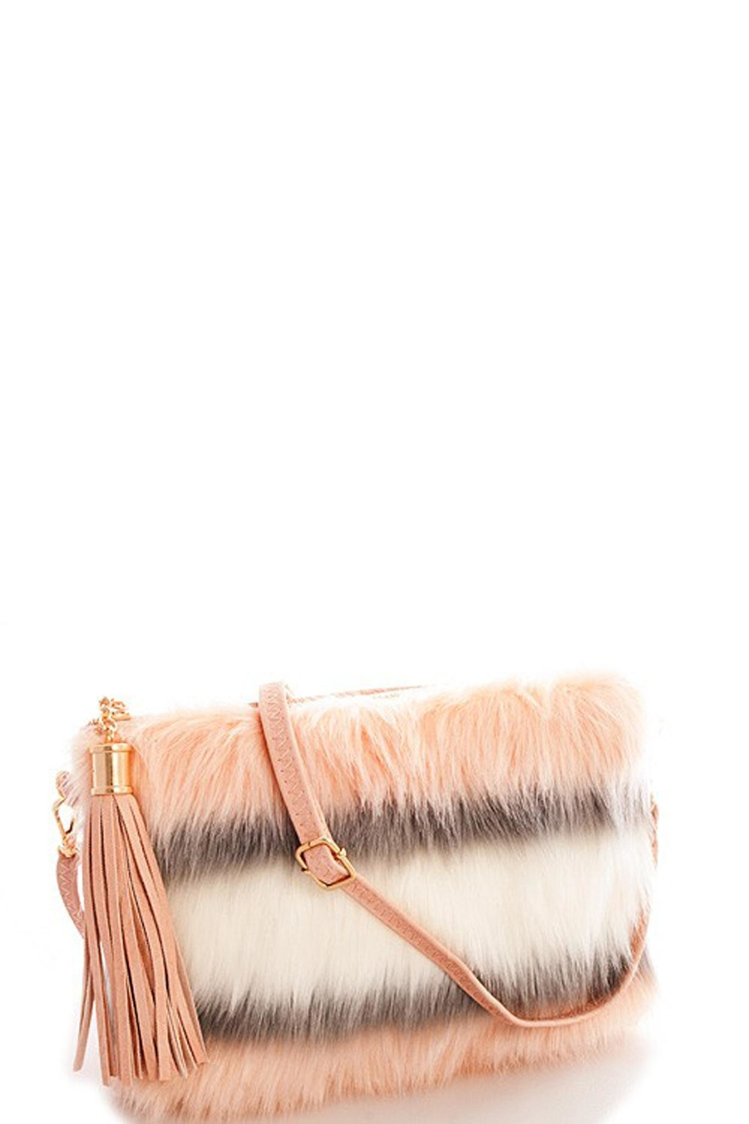 Street Level Striped Fur Clutch - Front Full Image