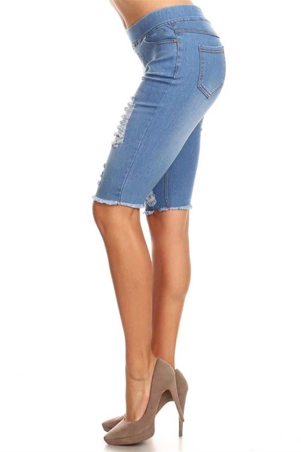 JVINI Stretch Denim Bermudas - Front Full Image