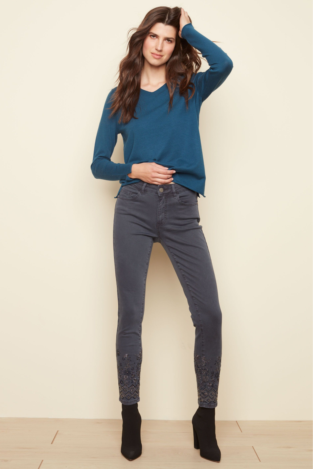 Charlie B Stretch Denim Pant - Front Cropped Image