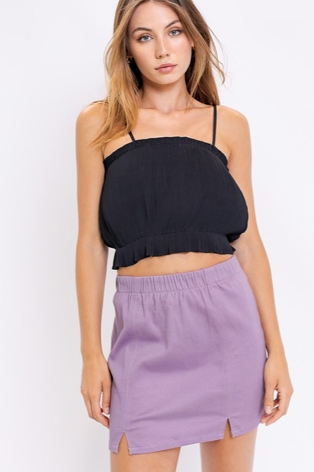 Le Lis Stretch Denim Skirt - Back Cropped Image