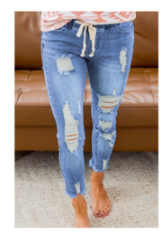 Shewin  Stretch Distressed pull on jean - Product Mini Image