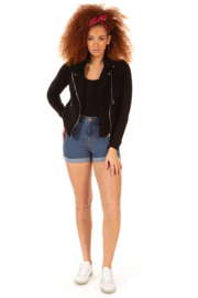 Dex Stretch Knit Moto Jacket - Front cropped
