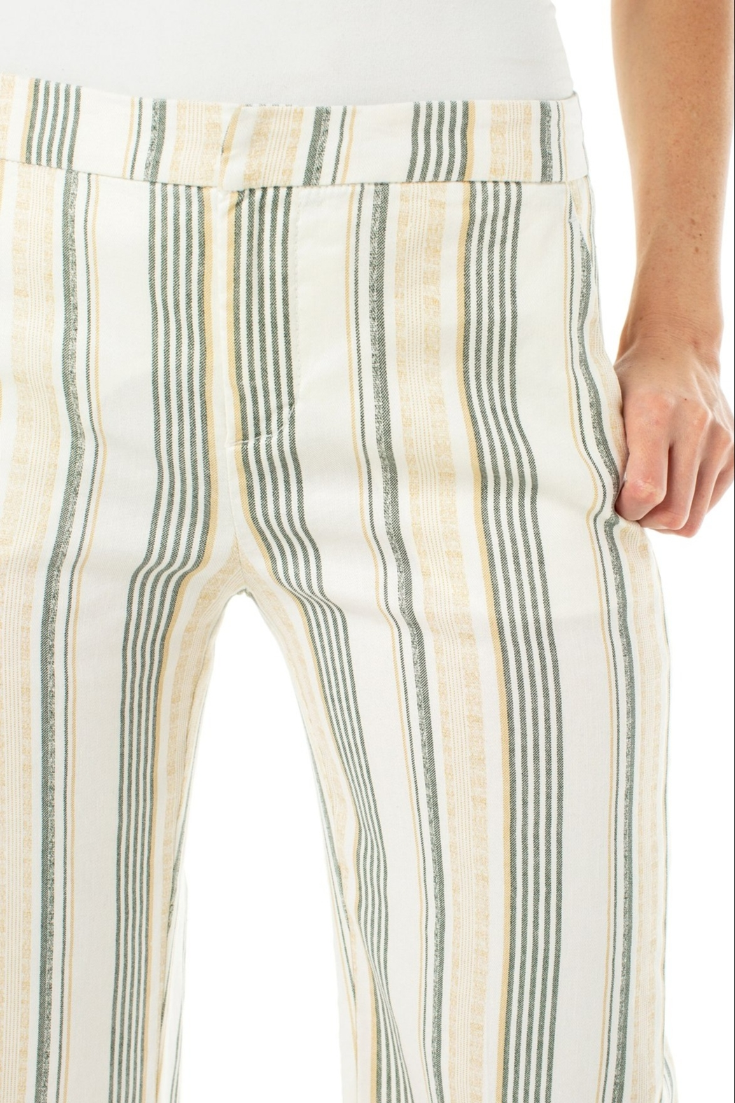 Liverpool Stretch Linen Cropped Trouser - Back Cropped Image