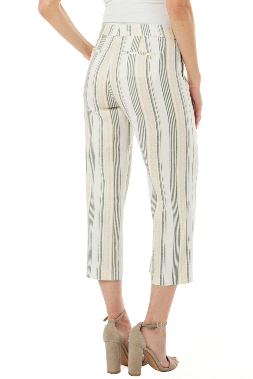 Liverpool Stretch Linen Cropped Trouser - Side Cropped Image