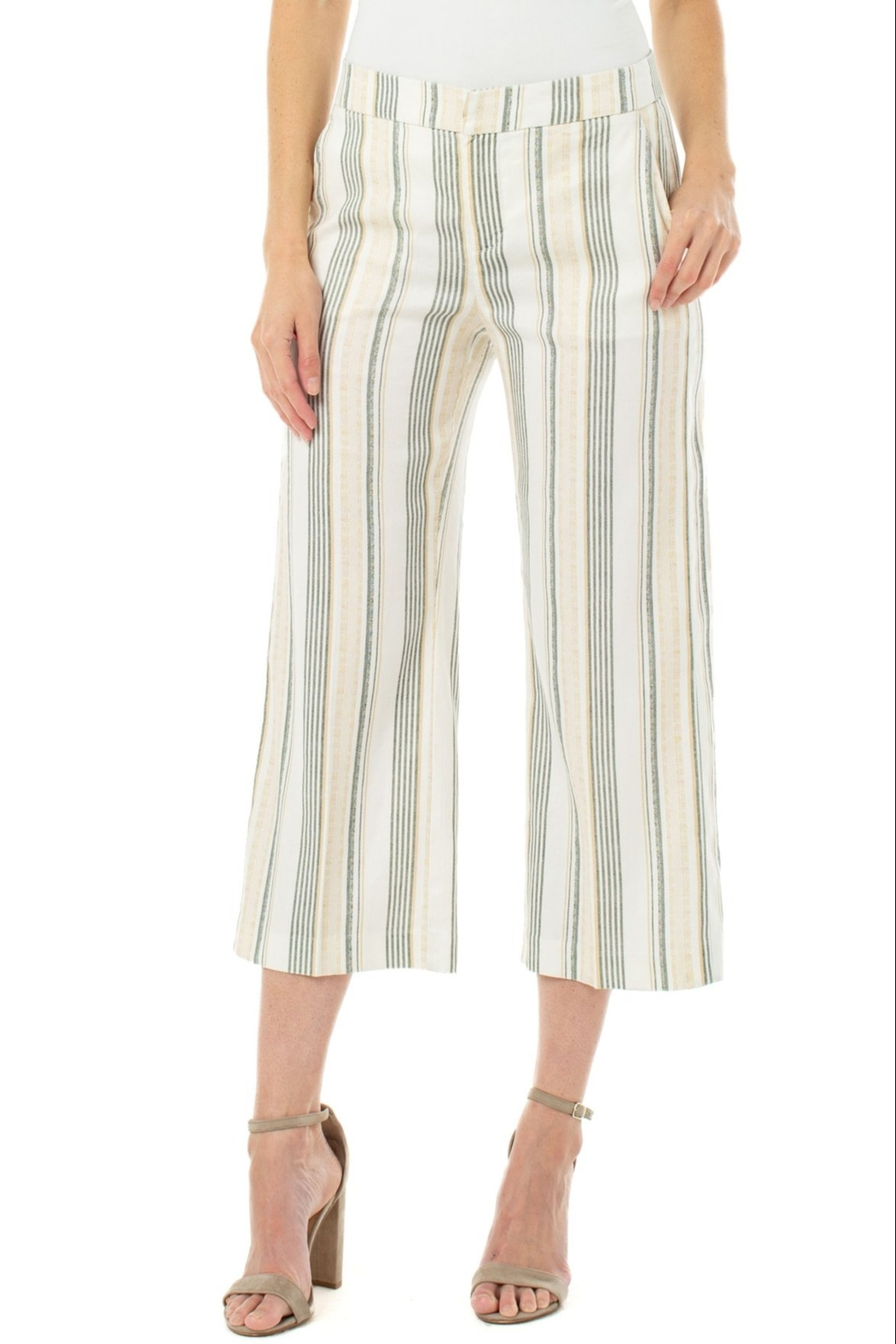 Liverpool Stretch Linen Cropped Trouser - Front Cropped Image