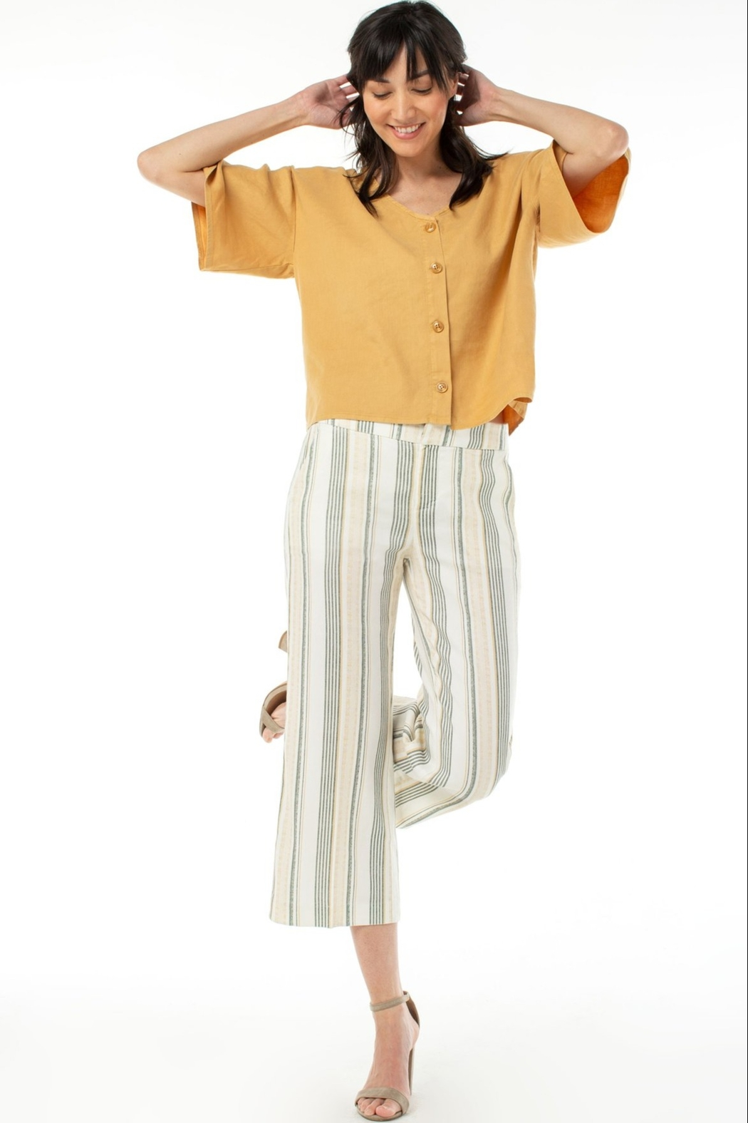 Liverpool Stretch Linen Cropped Trouser - Front Full Image