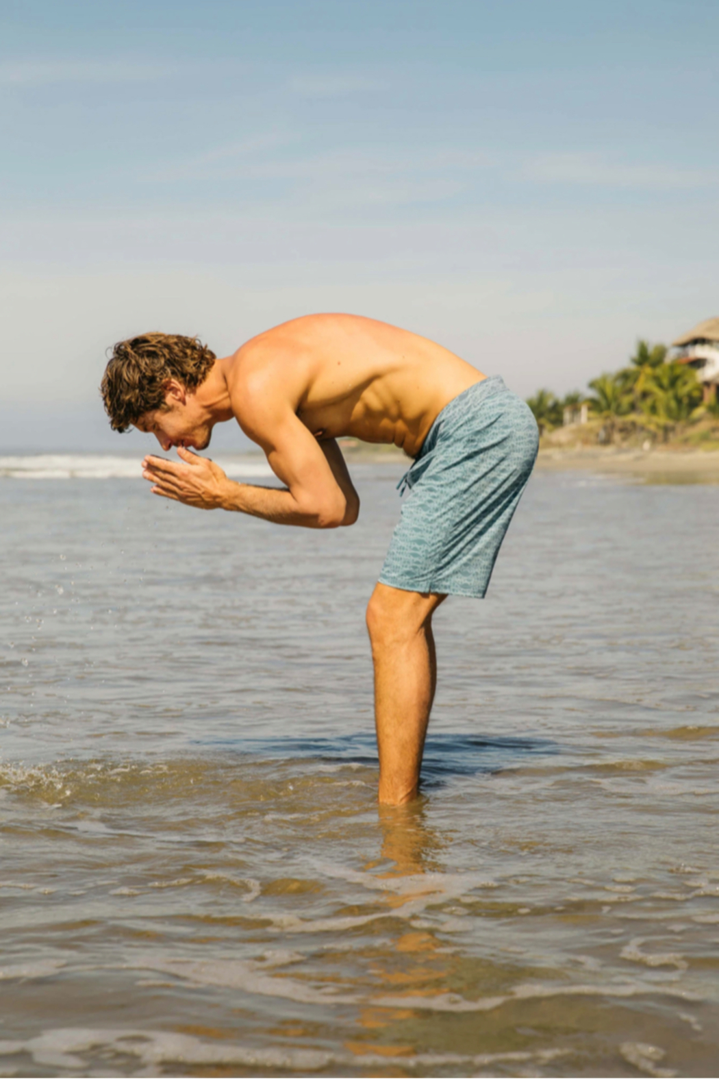 Mollusk Stretch Notched Trunks in Aloha Wave - Front Full Image