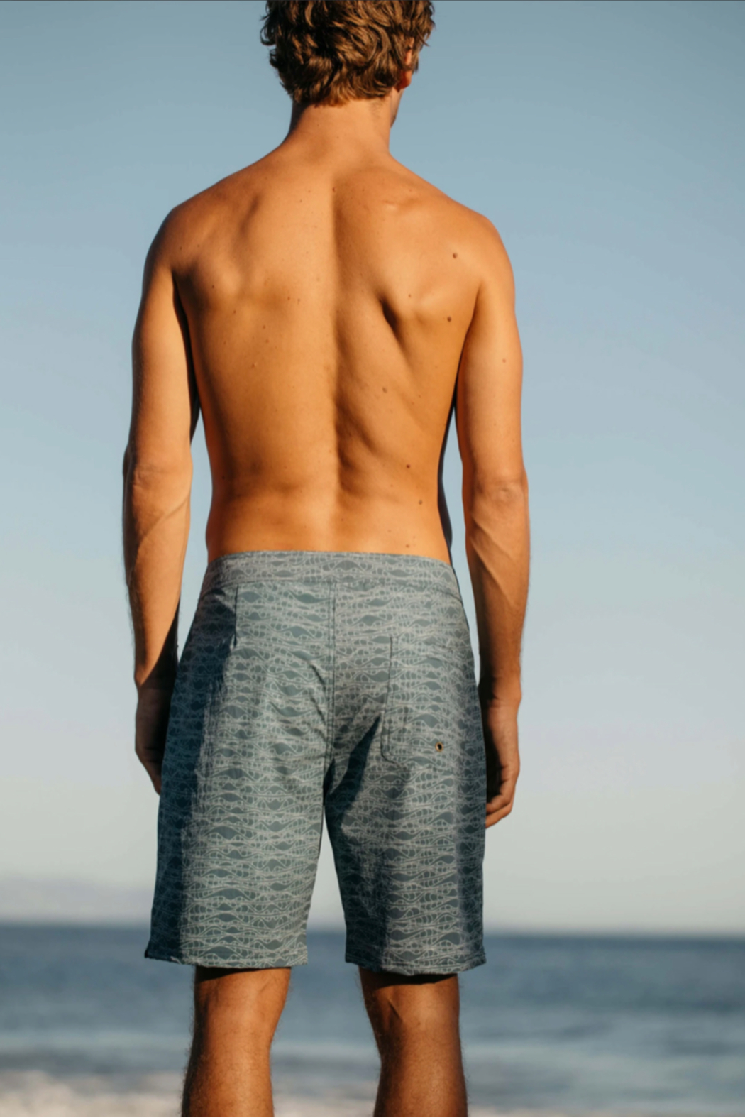 Mollusk Stretch Notched Trunks in Aloha Wave - Side Cropped Image