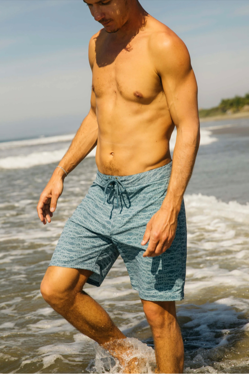 Mollusk Stretch Notched Trunks in Aloha Wave - Main Image