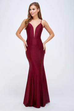 Shoptiques Product: Stretch Satin Deep V Mermaid Gown