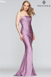 Faviana Stretch Satin Gown - Front cropped