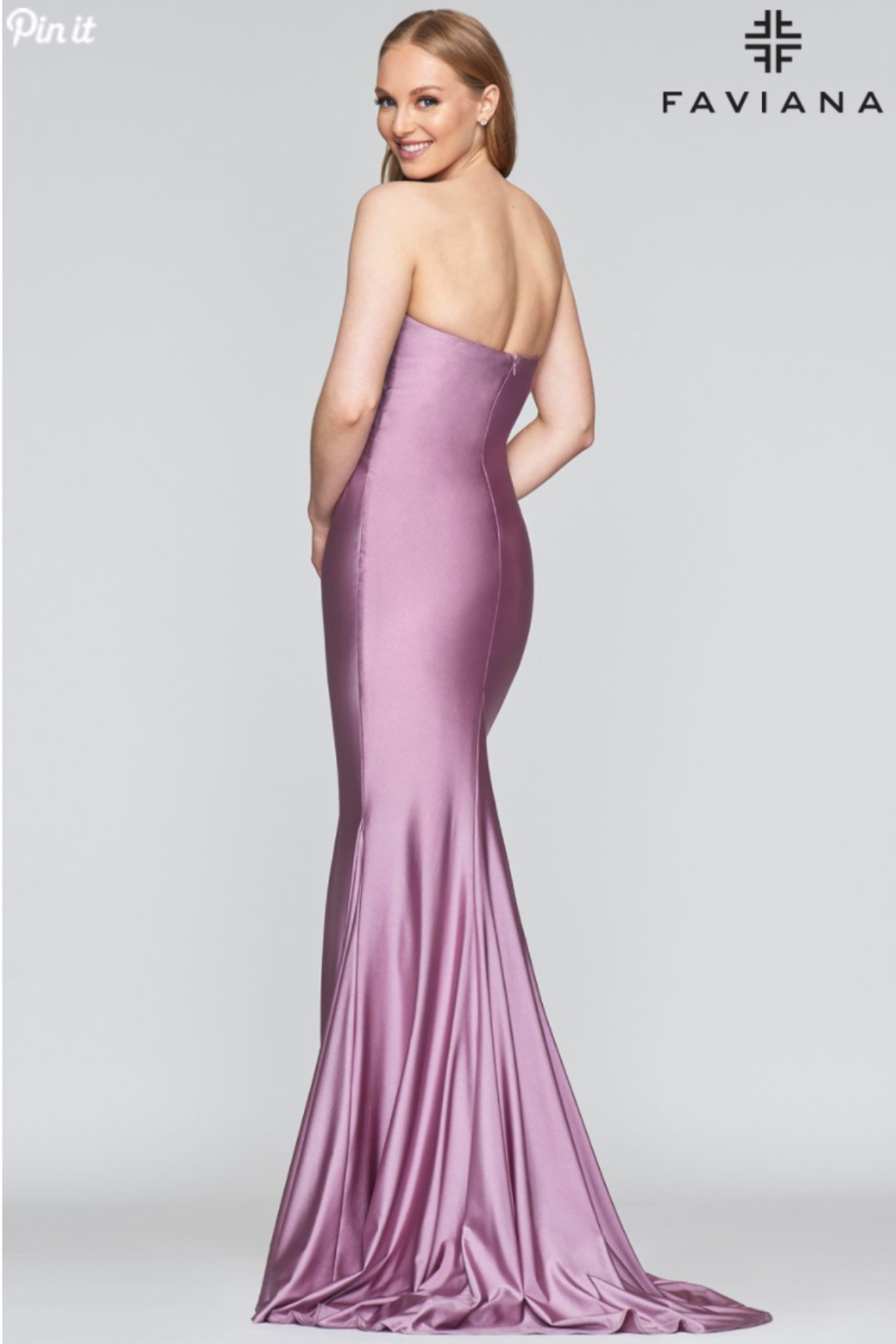 Faviana Stretch Satin Gown - Front Full Image