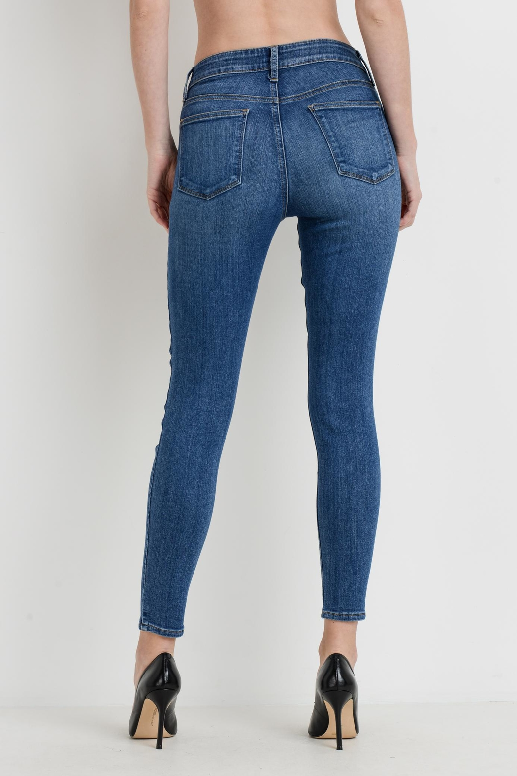 just black Stretch Skinny Jeans - Side Cropped Image