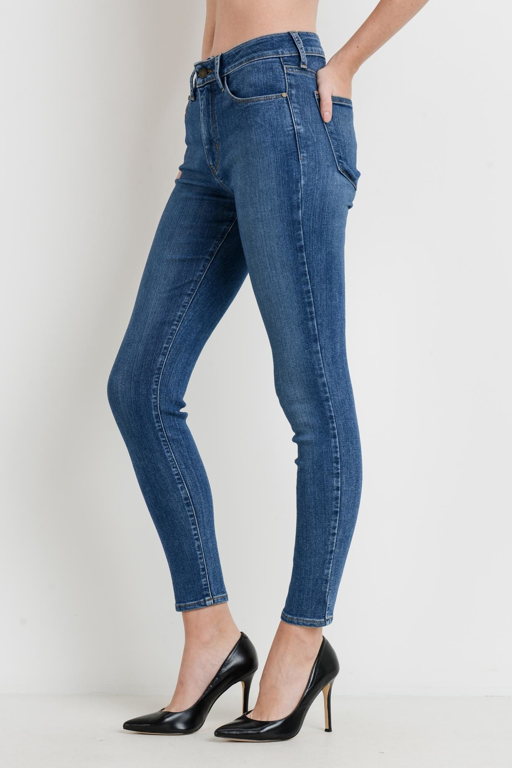 just black Stretch Skinny Jeans - Front Full Image