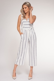 Black Tape/Dex Stretch Stripe Jumper w Self Belt - Front cropped