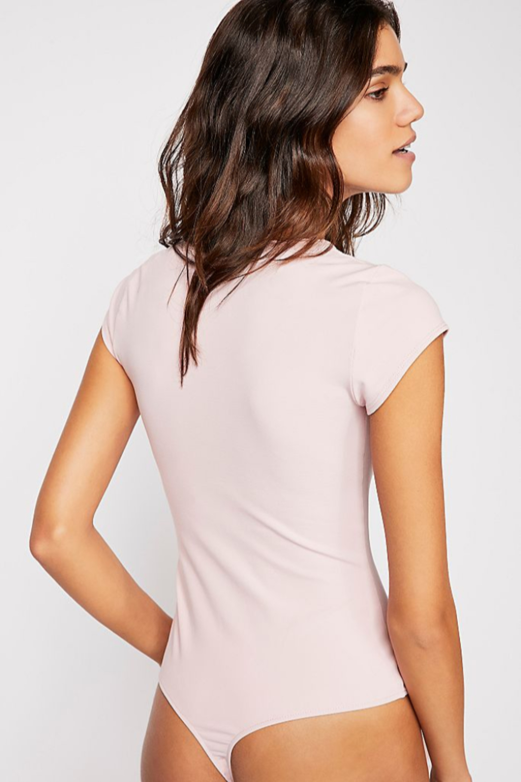 Free People Stretchy American made bodysuit featuring a square neckline. - Back Cropped Image