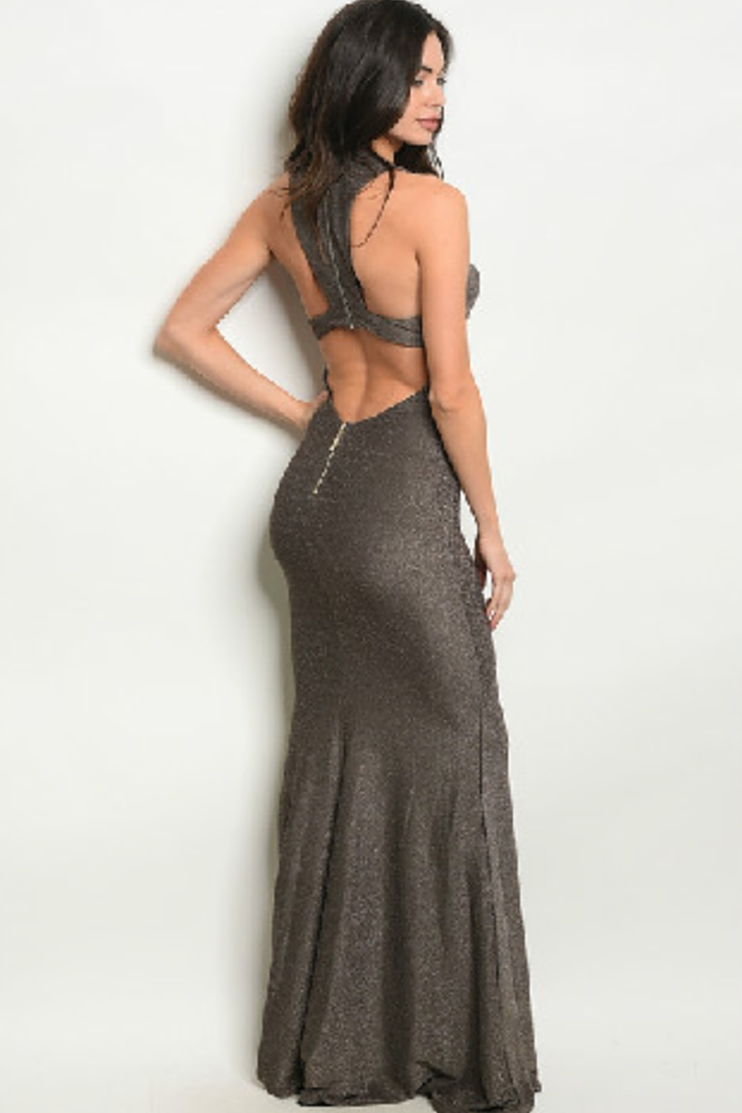 Ricarica Stretchy Bronze Gown - Front Full Image