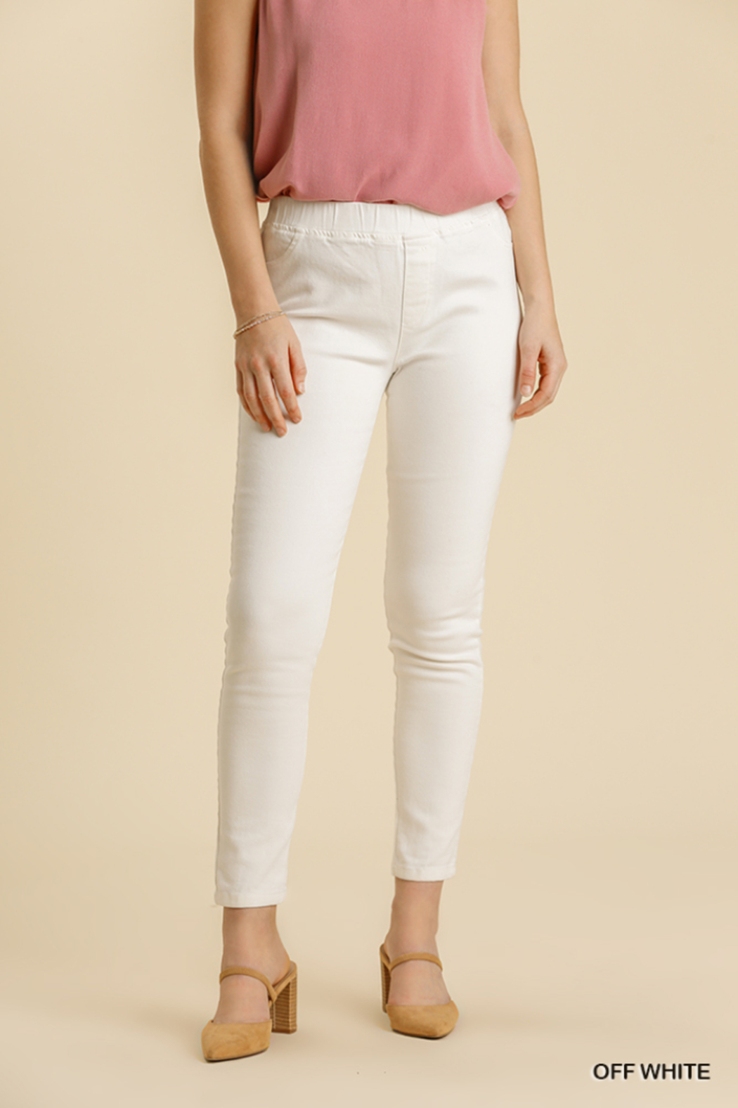umgee  STRETCHY DENIM PANTS WITH BACK PKTS - Main Image