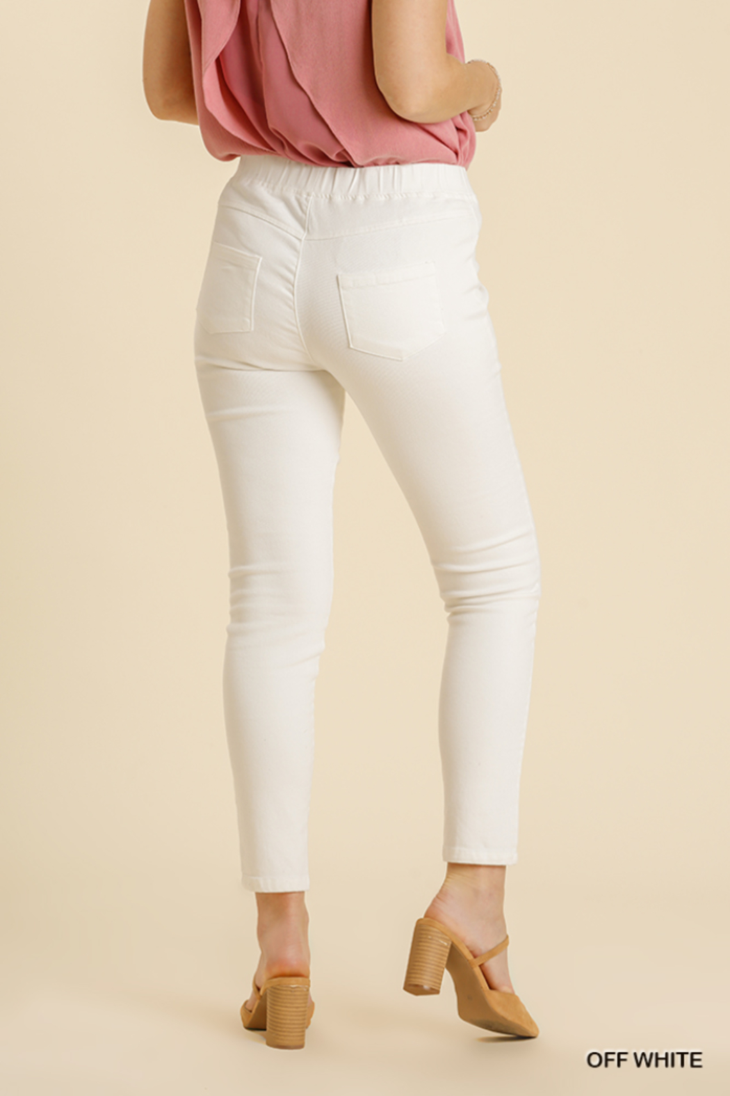 umgee  STRETCHY DENIM PANTS WITH BACK PKTS - Side Cropped Image