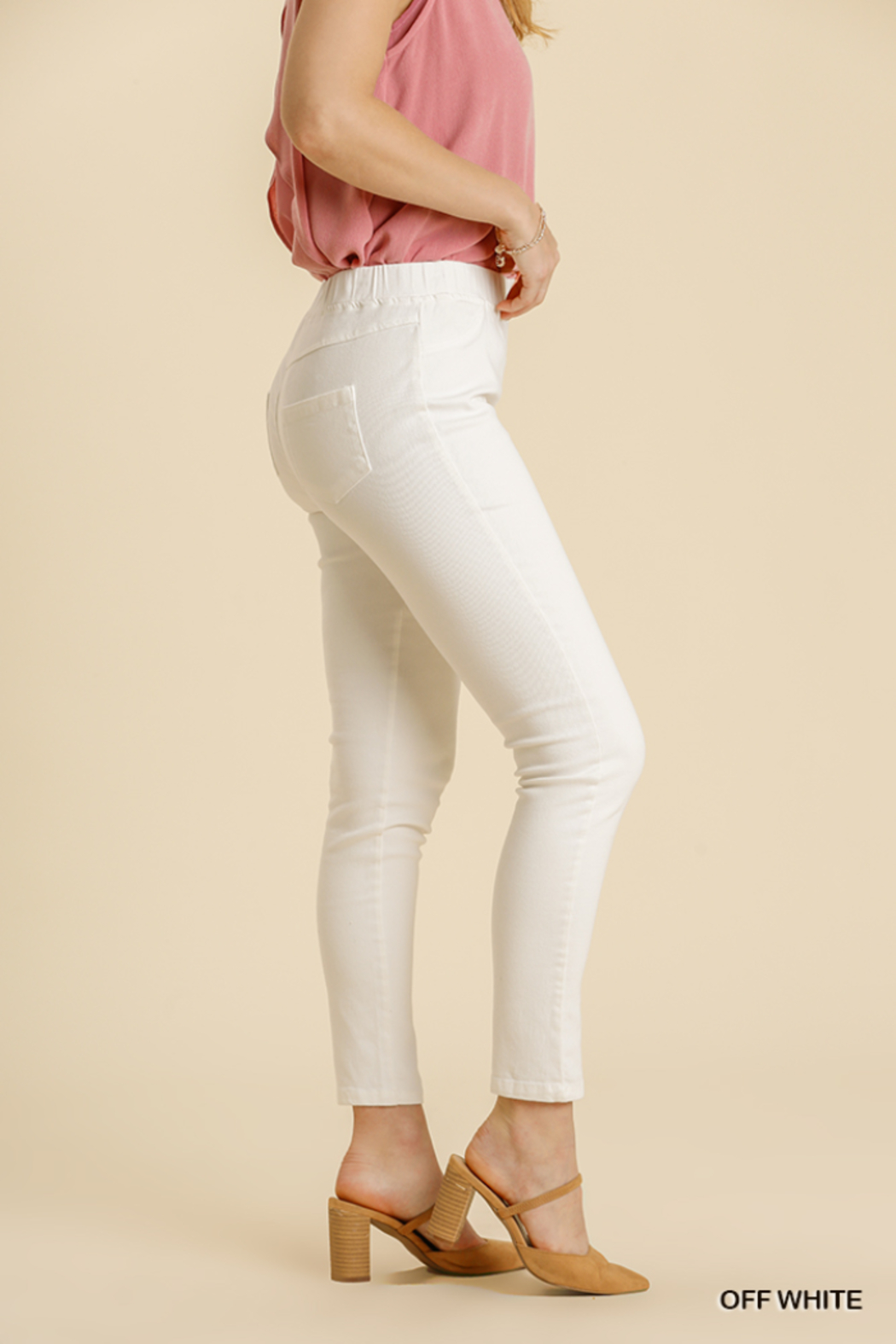 umgee  STRETCHY DENIM PANTS WITH BACK PKTS - Front Full Image