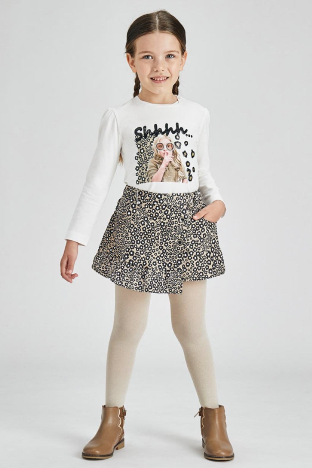 Mayoral Stretchy Jungle Suede Skirt - Side Cropped Image