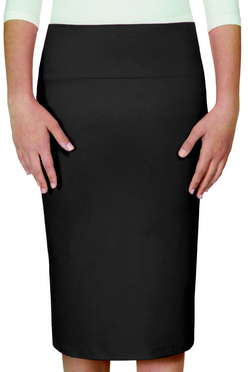 Kosher Casual Stretchy Pencil Skirt Viscose Spandex Knee Length for Girls - Front Cropped Image