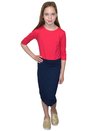 Kosher Casual Stretchy Pencil Skirt Viscose Spandex Knee Length for Girls - Front cropped