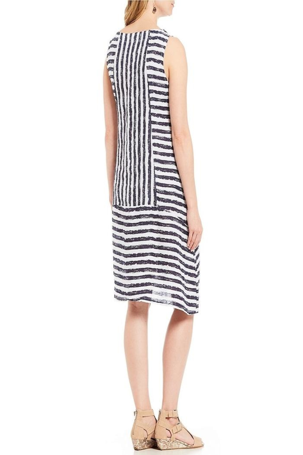 M made in Italy Strip Dress - Front Full Image