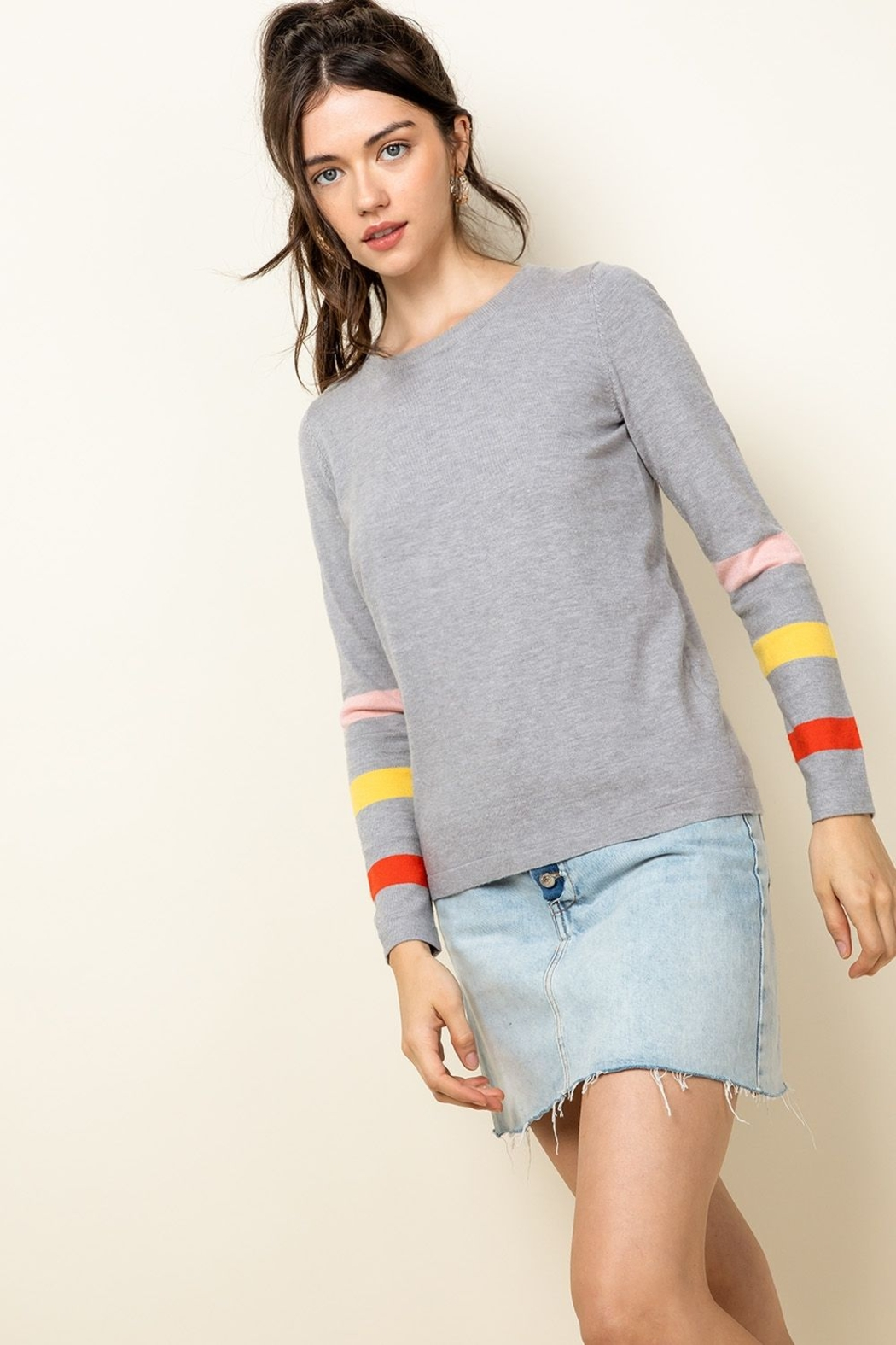 Thml Stripe Arm Sweater - Front Cropped Image