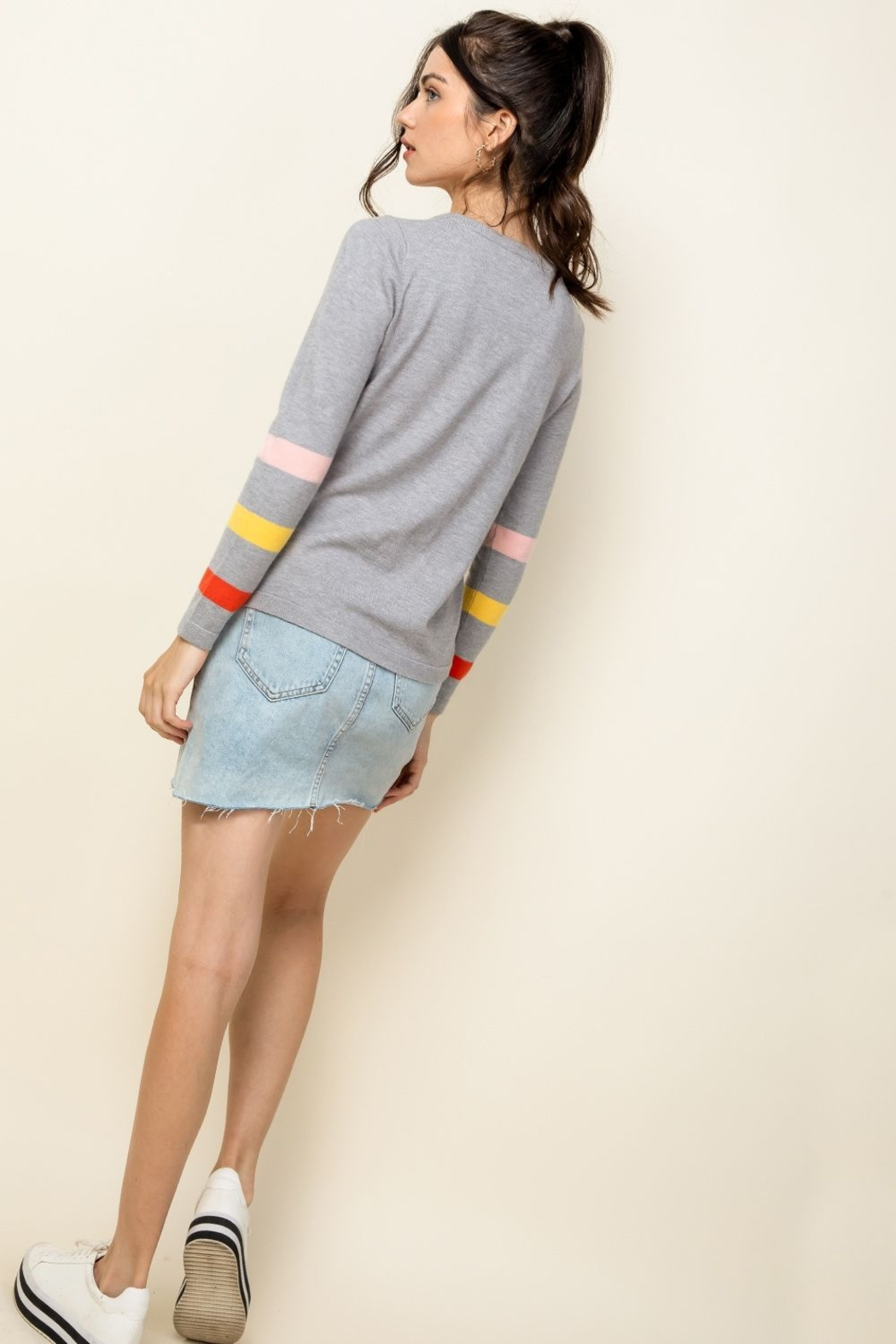 Thml Stripe Arm Sweater - Side Cropped Image