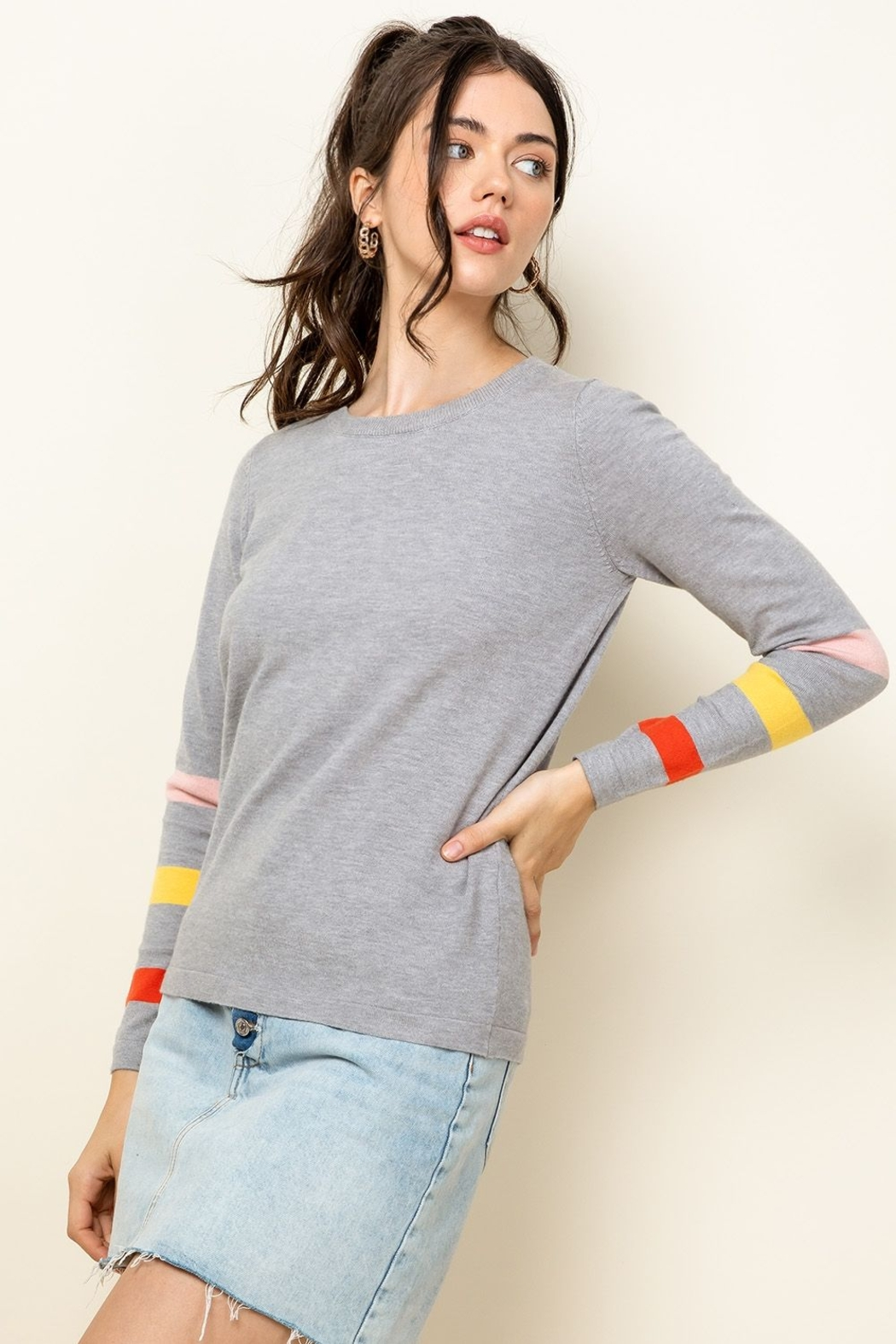 Thml Stripe Arm Sweater - Front Full Image