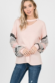 Lovely Melody Stripe Arm Waffle Shirt - Product Mini Image
