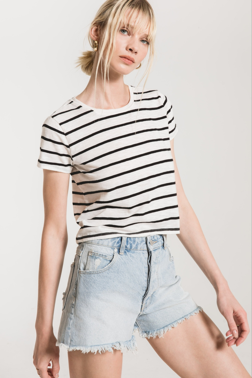 z supply Stripe Baby Tee - Front Cropped Image