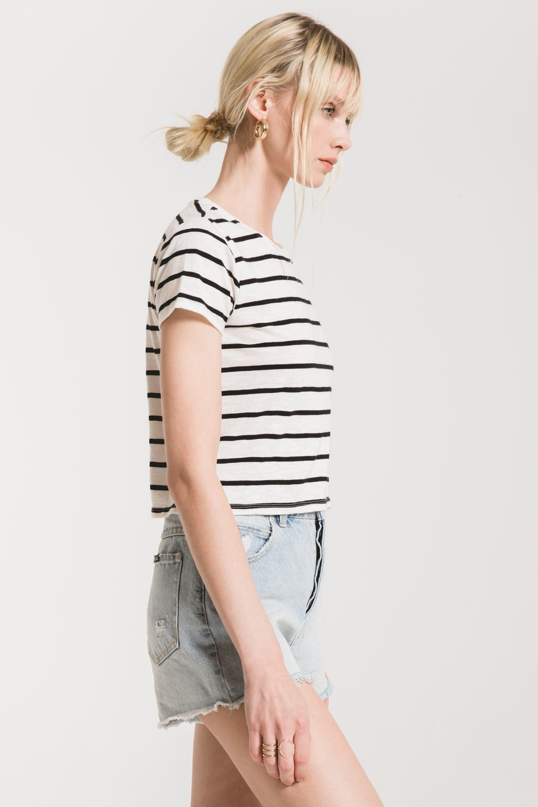z supply Stripe Baby Tee - Front Full Image