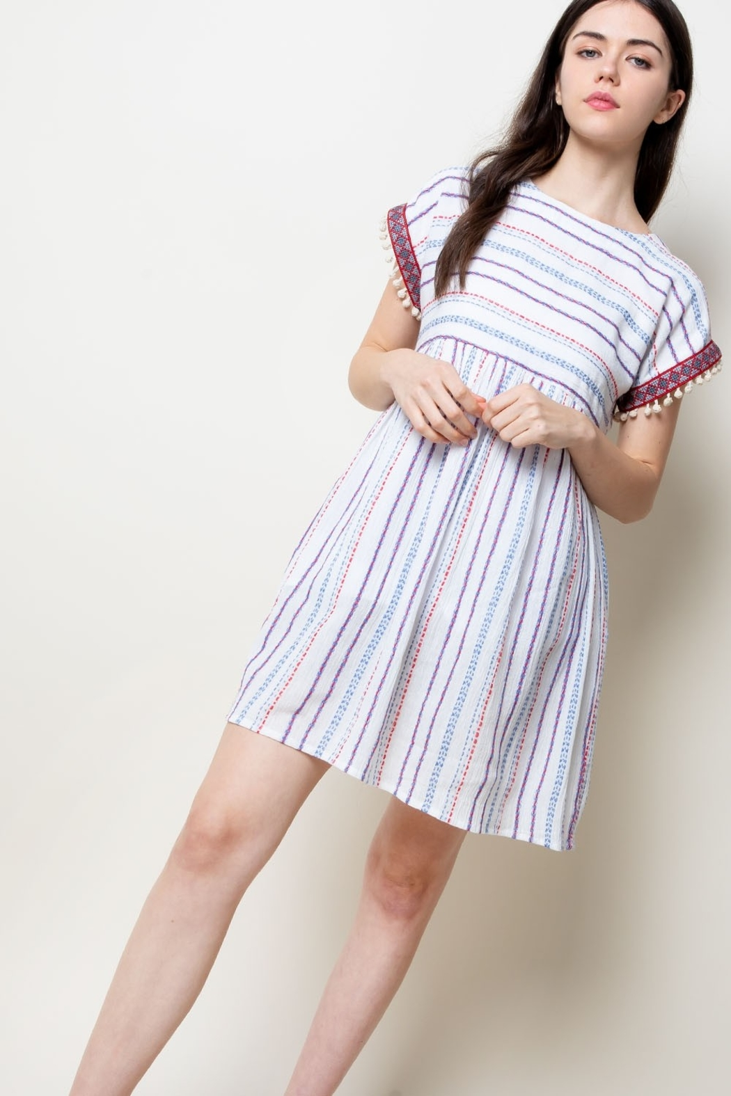 THML Clothing Stripe Babydoll Dress - Front Full Image