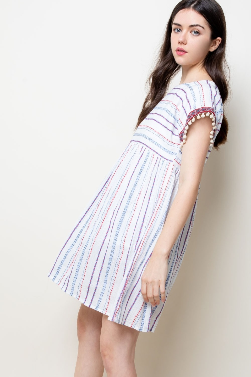 THML Clothing Stripe Babydoll Dress - Back Cropped Image