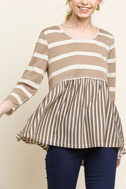 Umgee USA Stripe Babydoll Top - Front cropped