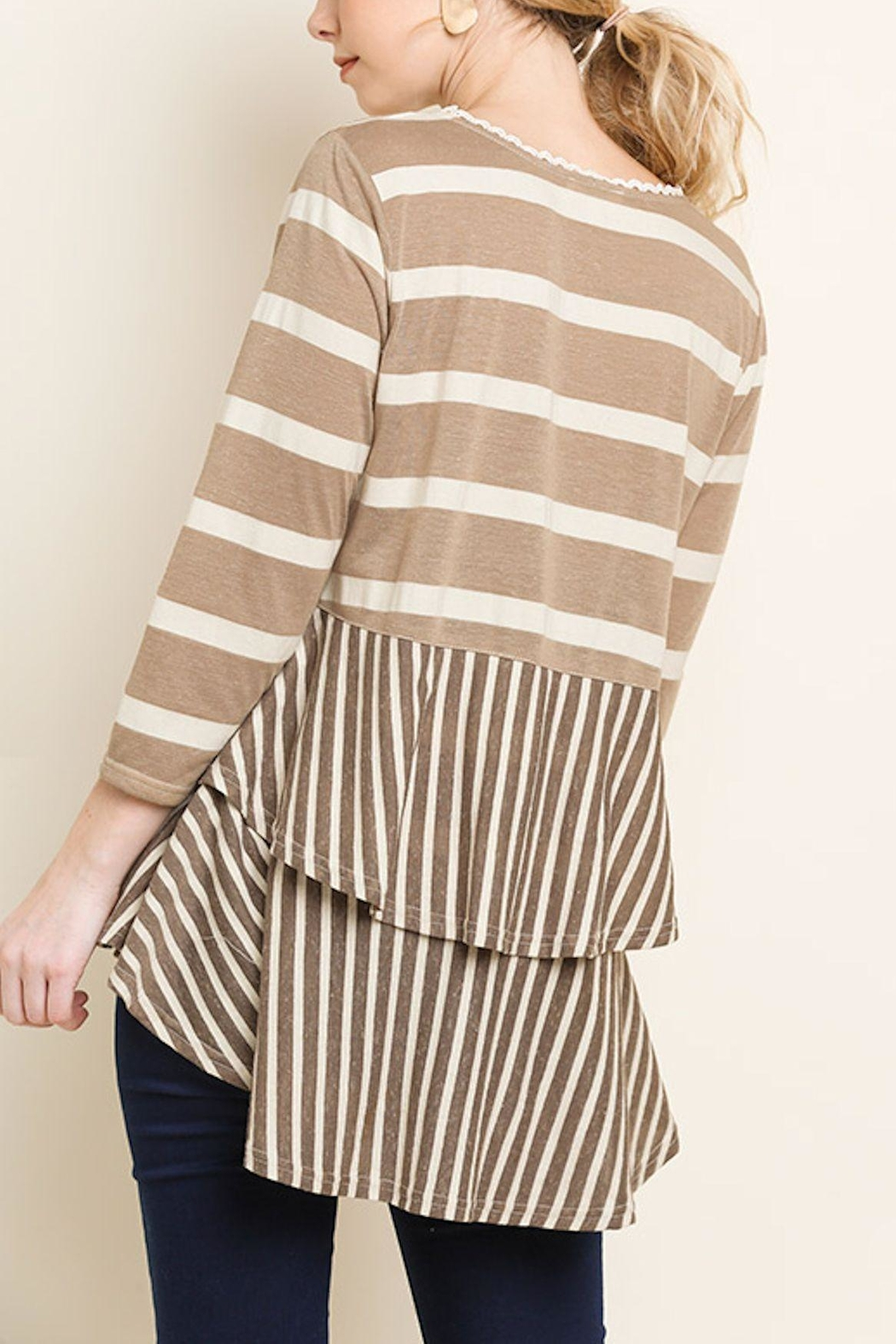 Umgee USA Stripe Babydoll Top - Front Full Image